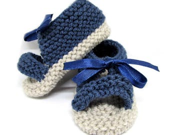 Spartans 3/4 month baby for summer - blue shoes - baby booties - baby shoes - knit