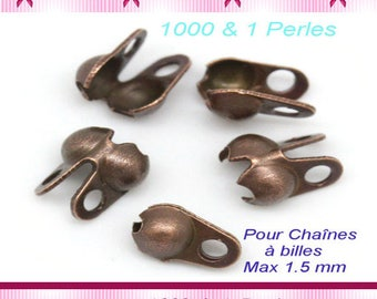 10 clasps for string ball 1.5 mm colored copper x 10