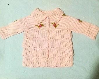 Baby Girl Cardigan, Crochet Cardigan, Pink Baby Cardigan , Handmade Cardigan, Handmade Baby Clothes, Crochet Baby Clothes, Baby Shower Gift
