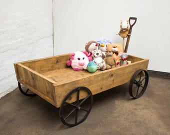 Veronica Bespoke Toy Cart - de-commissioned Scaffolding Boards and vintage steel wagon wheels with old spade handle - www.urbangrain.co.uk
