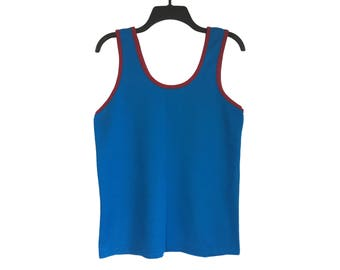 Vintage 70's/80's Blue and Wine Red Nice Wear Tank Top X-Small/Small