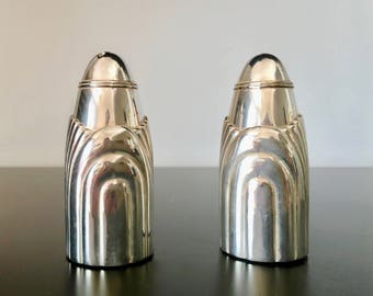 Silver Plate Salt and Pepper Shaker Art Deco Style