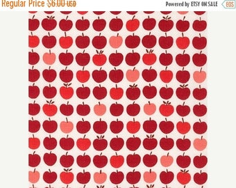 """20% Off Apple Print in Red - Robert Kaufman Fabrics London Calling 6 Lawn Fabric For Lingerie, Lining, and Quilting 100 Percent Cotton 44"""" W"""
