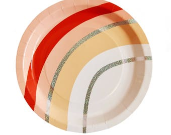 Peachy Vibes Large Paper Plates - peach red and iridescent sparkle foil - holographic - birthday party shower first valentine galentine's