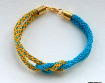 Women braided kumihimo bracelet double yellow and turquoise bow