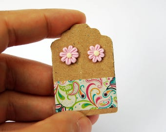 Studs pink Daisies in fimo