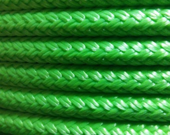 """1/4"""" Diameter Lime Double Braid~Yacht Braid Rope. Made in USA"""