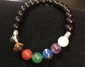 Womens Seven chakra bracelet with onyx