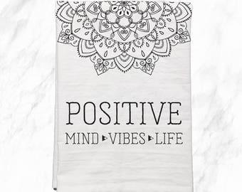 Mandala, Kitchen Towels, Flour Sack Towel, Positive Inspiration, Hostess Gift, Dish Towel, Housewarming Gift, Gifts under 20, Dish Cloths