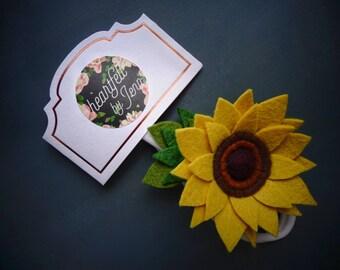 Handmade Felt Flower Headband - Sunflower - Baby / Toddler / Girl