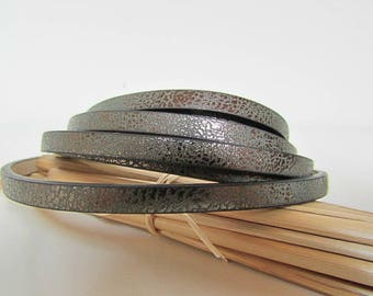 50 cm cord leather cracked flat 5 x 2 mm cord bracelet - 7 colors