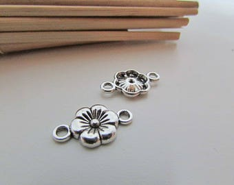 10 connector flower 18 x 10 mm metal antiqued silver plated - 2 mm hole - 125.18
