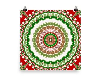 Christmas Decor for Home, Red and Green Holiday Mandala Wall Art, Festive Christmas Art Print