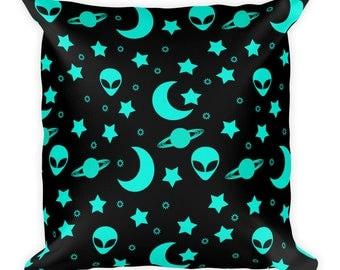 Alien Throw Pillow, Outer Space Decor, Night Sky Pillow 18x18 Decorative Cushion