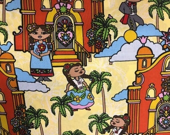 Colorful festive Mexican town village fabric, mariachis, plaza, Mexican, party, fiesta, folkloric women, Mexico