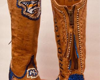 Nashville Predators-custom crystal boots-any team, any sport