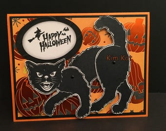 Halloween Card Pop Up Retro Black Cat Scary 3D Vintage Style Pumpkins Stampin Up OOAK Mixed Media Homemade