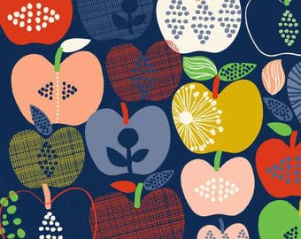 Organic Quilting Fabric with Colorful Apples on Navy Blue Background, Hand Picked by Carolyn Gavin from Windham Fabrics