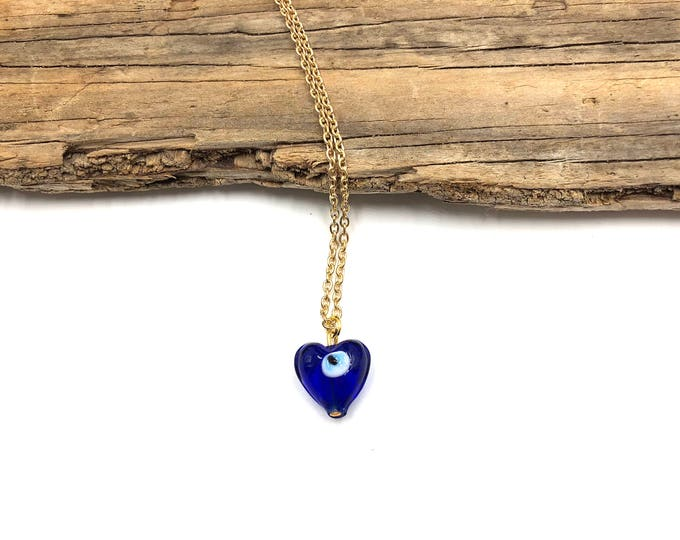 EVIL EYE: glass heart chain necklace