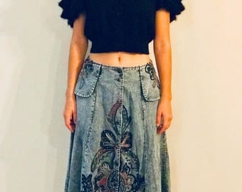 VINTAGE peplum embellished midi skirt