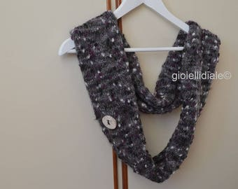 Woman neckwarmer, grey neckwarmer, wool neckwarmer, infinity scarf, grey scarf, raku ceramic buttons, woman birthday, woman Christmas gift