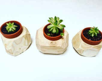 Geometric Handcrafted wooden planters with Succulents *Boho*Planter*Homedecor*
