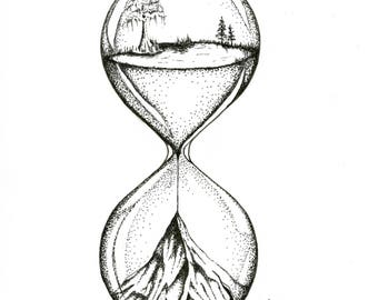 THE SANDS 0F TIME, limited release print (25), 8x10, hourglass pen and ink, stippling, pointillism