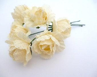 """Rustic Ivory Burlap Roses_PA00315/86047_ Flowers_ Rustic ivory burlap flowers of 30/35 mm _ 1,37""""_ pack 6 flowers"""