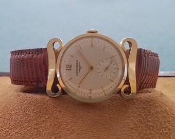 Longines 14K Solid Gold Scroll Lug Manual Wind Watch