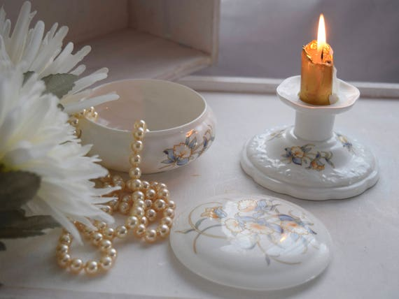 Aynsley, Just Orchids, Candlestick Candle Holder and Lidded Trinket Box, Anniversary, Birthday, Wedding gift, dressing table ware, porcelain