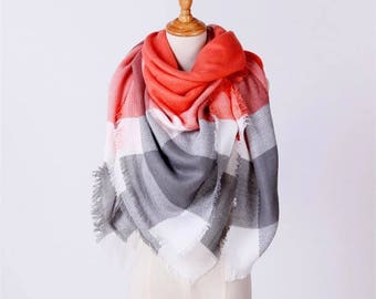Gray and Orange/Coral Plaid Blanket Scarf