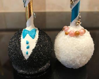 Wedding Cake Pops-One Dozen-Bling Pops-Chocolate-Vanilla-Funfetti-Cookie Dough-Bride-Groom