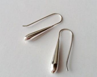 Sterling Silver Teardrop Earrings, Silver Dangle Earrings, Small Silver Earrings, Minimalist Jewelry, Threader Earrings, Gift for Her.