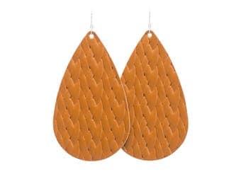 Cognac Braided Leather Earrings, leather earrings, teardrop earrings, statement earrings, brinleyandco, brinley and co, leather jewelry