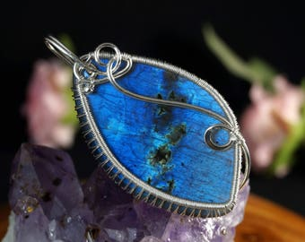 Sterling Silver wire wrapped pendant with Labradorite gift for her gift for mom (without chain) / wire wrapped /