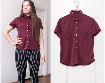 70s Maroon Shirt Womens Small Button Down Top Preppy Short Sleeve Shirt Minimalist Maroon Blouse Smart Petite Summer Shirt Dark Red Top S