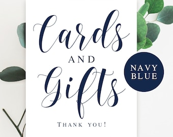 Navy blue wedding decorations Cards and gifts sign Navy wedding sign Nautical wedding decor Ocean wedding signs Navy bridal shower #vm23