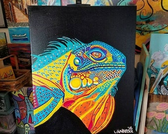 """25%OFF Large Colorful IGUANA Reptile Original Coastal Tropical Art Acrylic Painting On Stretched Canvas By Scott D Van Osdol 16"""" x 20"""" Wall"""