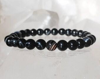 ॐ Onyx Bracelet 6mm ॐ Mala Bracelet - Yoga Bracelet - Meditation - Reiki Bracelet 6 mm