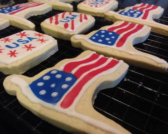Patriotic American Flag & USA Decorated Sugar Cookies - 4th of July - Homemade - Handpainted