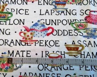 Hi Fashion  Quilt/Craft Fabric - Tea Cups & Tea - Vintage - 1/2 Yd.