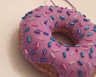 Handmade Felt Donut Ornament