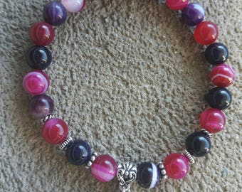 "Energized ""Anchor and luck"" bracelet agate pink and purple striped, lotus flower"