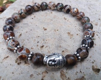 "Energized ""Anchor and luck"" bracelet green brown agate Tibetan silver zen Buddha bead"