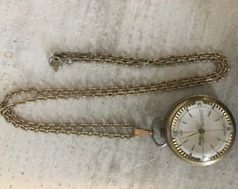 Swiss Made Heritage Gold Tone Pocket  Windup Watch Unbreakable Mainspring Necklace Working