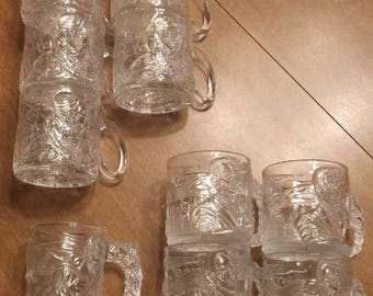 1995 McDonald's Batman Forever Glass Mugs Set Of 10 (Made in France)