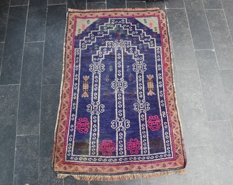 Free Shipping 2.3 x 3.4 Nomadic Rug, Anatolian Prayer Rug, Decorative Rug, Turkish Vintage Bohemian Rug, Oushak Rug, Pastel Color No 1103