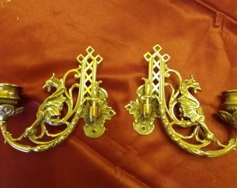 Pair of Antique Solid Brass Victorian Piano / Wall Candle Holders, 1920s