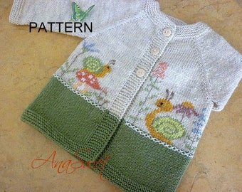 Pattern baby cardigan with snails and flowers.PDF pattern PC015
