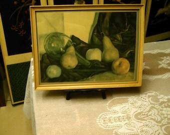 Luigi Lucioni  (1900 - 1988)  Framed Fine Art Still life Fruit Print Apples Pears Peachrs wine bottle